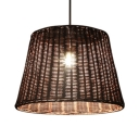 Tapered Drum Hanging Pendant Light for Dining Room Pastoral Bamboo 1/3-Bulb Drop Light in Brown