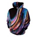 New Trendy Watercolor Printed Men's Long Sleeve Loose Fitted Drawstring Hoodie