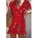 Fashion Red V-Neck Short Sleeve Tied Waist Ruffle Hem Mini Sheath Dress