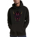 Stylish Cool Devil Printed Long Sleeve Loose Casual Unisex Pullover Hoodie