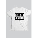 Funny Simple Letter ONE OF A KIND Printed Cotton Short Sleeve Mens Casual Tee