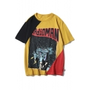 Cool Mens Radio Figure Letter Print Color Block Half Sleeve Loose Fit T-Shirt