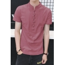 Chinese Style Plain Frog Button Stand-Collar Short Sleeve Mens Fitted Linen T-Shirt
