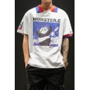 Mens Popular Cartoon Panda Letter MONSTER C Printed Colorblocked Casual Polo Shirt