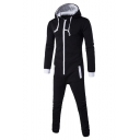 Men's Simple Solid Color Long Sleeve Hooded Zip Up Sport Loose Fitted Hoodie Jumpsuits