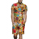Summer Fashion Creative Cartoon Comic Printed Short Sleeve Button-Front Shirt Work Rompers for Men