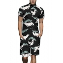 Stylish Allover Crane Printed Short Sleeve Black One Piece Suit Shirt Workwear Rompers for Guys