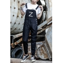 Simple Letter Z Printed Front Elasticized Cuff Mens Casual Bib Overalls