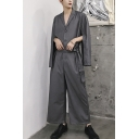 Mens New Stylish Solid Color Unique Splited Long Sleeve Notched Lapel Collar Tied Waist Grey Jumpsuits Coveralls