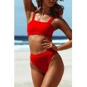 New Stylish Tied Straps Sleeveless Crop Tank Plain Bikini