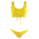 Popular Yellow Tied Hem Tank Top Basic Plain Bottom Bikini Swimwear
