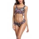 Popular Geometric Floral Printed Spaghetti Straps Ruffle Trim Sexy Bikini