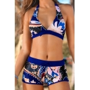 Women's Floral Printed Halter Tank Top Drawstring High Waist Bikini Swimwear Sets
