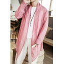 Men's Summer Retro Thin Chinese Style Plain Shawl Collar Sun Protection Linen Long Coat