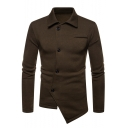 Mens Solid Irregular Design Offset Button Closure Long Sleeve Fitted Sweatshirt Jacket