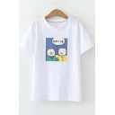 Cartoon Pig Pattern Round Neck Short Sleeve White Loose Fit T-Shirt
