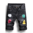 Men's Retro Distressed Ripped Detail Rolled Cuff Colored Print Fitted Black Denim Shorts