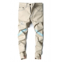 Mens New Stylish Letter Patched Light Khaki Relaxed Fit Distressed Ripped Jeans