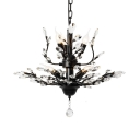 Metal Hanging Light Fixtures with Clear Crystal Decoration 7/8 Lights Vintage Adjustable Chandelier in Black/Gold