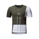Unique Lace-Up Drawstring Front Stylish Colorblock Patchwork Men's Slim Fit T-Shirt