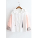 Summer Loose Casual Colorblock Long Sleeve Drawstring Hooded Button Down T-Shirt