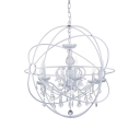 Traditional White Pendant Light with Globe 6 Lights Clear Crystal Chandelier with 23.5