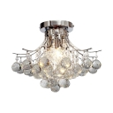 Clear Crystal Ball Semi Flush Mount Lighting One Light Vintage Style Ceiling Light Fixture, H11