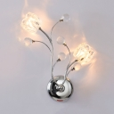 Contemporary Style Clear Crystal Wall Light Fixture with Floral Shade 2 Lights Glass Sconce Lighting