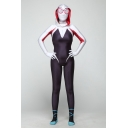 Spider-Man Into the Spider-Verse Gwen Cosplay Costume Slim Fit Tight Jumpsuits for Adults