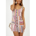 Women's Single Breasted Striped Printed Tied Straps Mini Shirt Dress with Pockets