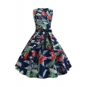 Retro Floral Tropical Printed Round Neck Sleeveless Bow-Tied Waist Blue Midi Flare Dress