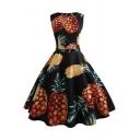 Women's Vintage Pineapple Printed Sleeveless Belt Waist Midi A-Line Flared Black Dress
