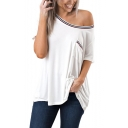 Simple Stripe Edge Round Neck Short Sleeve Loose Casual T-Shirt