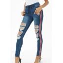 New Fashion Stripe Side Drawstring Elastic Waist Ripped Skinny Blue Denim Jeans