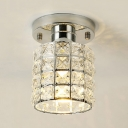 Contemporary Cylinder Semi Flush Mount Light Clear Crystal 1-Light Gold/Silver Ceiling Lighting for Hallway