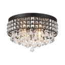 Vintage Style Flushmount Lighting 4 Lights Clear Crystal Ceiling Light Fixture in Black, H9.5