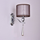 White Fabric Cylinder Sconce Light with Clear Crystal 1 Light Contemporary Style Wall Lighting, L:6in W:10in H:14in