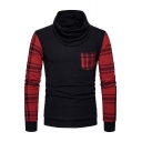 New Stylish Plaid Patchwork One Pocket Chest Turtleneck Mens Slim Fit Pullover Sweater