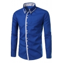 Mens Trendy Simple Contrast Placket Long Sleeve Casual Fitted Button-Down Shirt