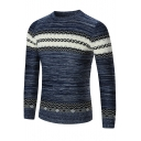 Fashion Colorblock Geometric Printed Crew Neck Mens Basic Slim Fit Sweater