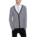 Fashion Classic Stripe Printed Long Sleeve V-Neck Button Front Cardigan