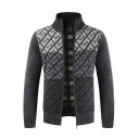 Men's Colorblock Geometric Printed Stand-Color Zip Up Warm Thick Coat Cardigan