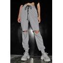 Women's Fashion Drawstring Waist Cutout Knee Plain Grey Casual Sports Pants