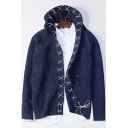Creative Fashion Lace-Up Shawl Collar Mens Open Front Plain Casual Cardigan