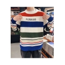 Men's Striped Letter PLOMSANS Printed Round Neck Long Sleeve Pullover Sweater