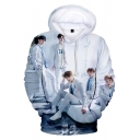 Popular Boy Group 3D Figure Printed Long Sleeve Casual White Hoodie