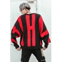 Unisex Street Style Colorblocked Round Neck Bat Sleeve Loose Pullover Sweater