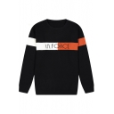 New Stylish Mens Letter Pattern Round Neck Colorblock Long Sleeve Fitted Pullover Sweater