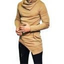 Mens Hot Fashion Simple Plain Cowl Neck Long Sleeve Asymmetric Hem Sweater