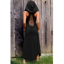 Stylish Vintage Solid Color Hollow Out Back Sleeveless Black Maxi Hoodie Bodycon Dress